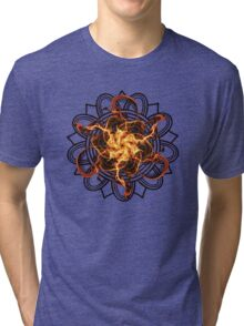 Energetic Geometry - Fire Spinner Bloom  Tri-blend T-Shirt