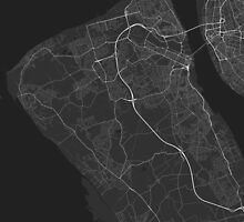 Birkenhead, England Map. (White on black) by Graphical-Maps