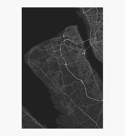 Birkenhead, England Map. (White on black) Photographic Print
