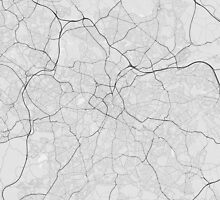 Birmingham, England Map. (Black on white) by Graphical-Maps