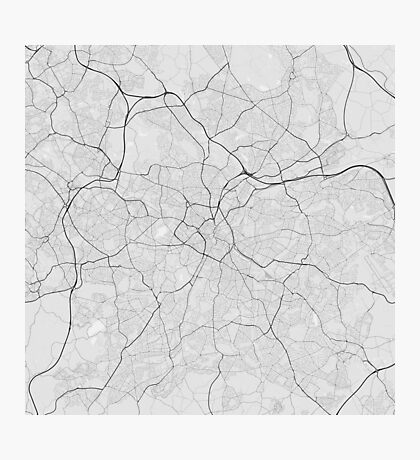 Birmingham, England Map. (Black on white) Photographic Print