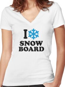 I love snowboard snow Women's Fitted V-Neck T-Shirt