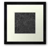 Birmingham, England Map. (White on black) Framed Print
