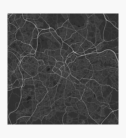 Birmingham, England Map. (White on black) Photographic Print