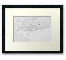 Bournemouth, England Map. (Black on white) Framed Print
