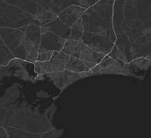 Bournemouth, England Map. (White on black) by Graphical-Maps
