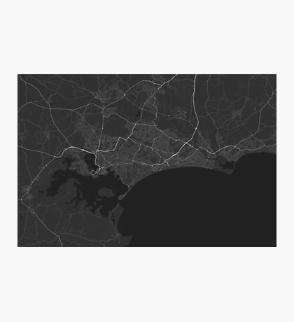 Bournemouth, England Map. (White on black) Photographic Print