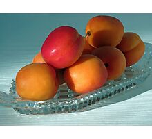 Dish of Delicious Apricots Photographic Print