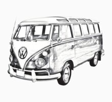 Classic VW 21 window Mini Bus Illustration Kids Clothes