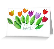 Seven colorful tulips Greeting Card
