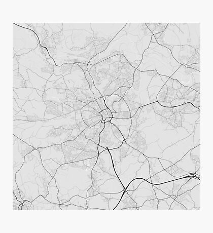 Bradford, England Map. (Black on white) Photographic Print