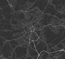 Bradford, England Map. (White on black) by Graphical-Maps