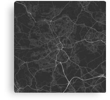 Bradford, England Map. (White on black) Canvas Print