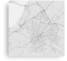 Bristol, England Map. (Black on white) Canvas Print
