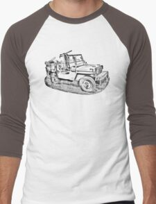 Willys World War Two Army Jeep Illustration Men's Baseball ¾ T-Shirt
