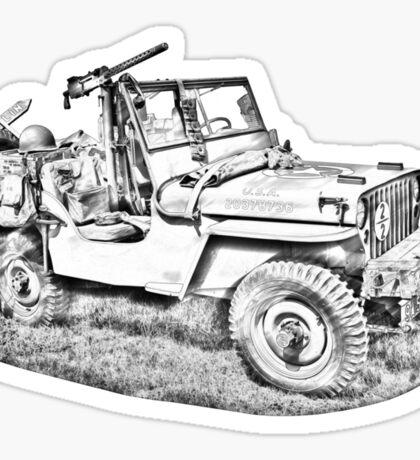 Willys World War Two Army Jeep Illustration Sticker
