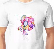 Original Watercolour Design: Girl with Balloons Unisex T-Shirt