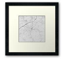 Huddersfield, England Map. (Black on white) Framed Print