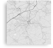 Huddersfield, England Map. (Black on white) Canvas Print