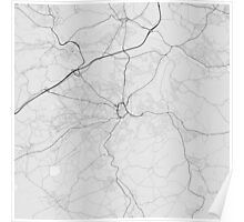 Huddersfield, England Map. (Black on white) Poster