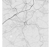 Huddersfield, England Map. (Black on white) Photographic Print