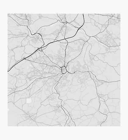 Huddersfield, England Map. (Black on white) Photographic Print