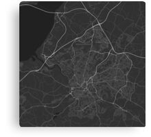 Bristol, England Map. (White on black) Canvas Print
