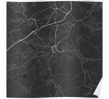 Huddersfield, England Map. (White on black) Poster