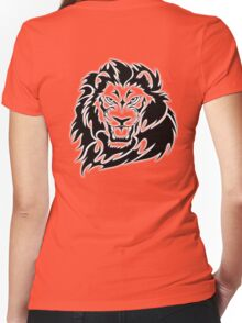 LION, Big Cat, Cat, Roar, Snarl, King of the Jungle Women's Fitted V-Neck T-Shirt