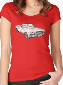 1965 Red Ford Mustang Convertible Drawing Women's Fitted Scoop T-Shirt