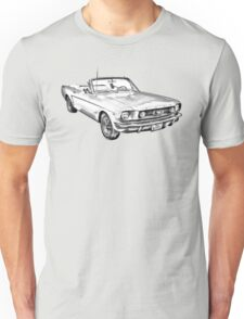 1965 Red Ford Mustang Convertible Drawing Unisex T-Shirt