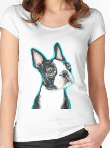 Boston Terrier Dog Drawing Women's Fitted Scoop T-Shirt
