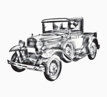 1930 Model A Ford Pickup Truck Illustration Baby Tee