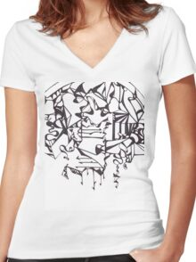 Psychedelic Twisted Lines Women's Fitted V-Neck T-Shirt