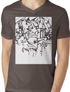 Psychedelic Twisted Lines Mens V-Neck T-Shirt
