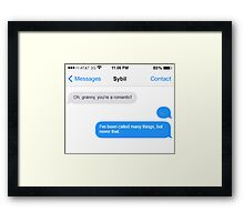 Dowager Texts: granny to Sybil Framed Print