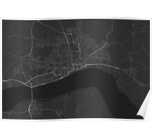 Hull, England Map. (White on black) Poster