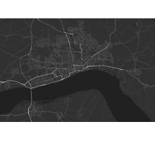 Hull, England Map. (White on black) Photographic Print