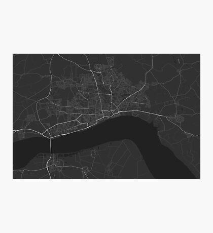 Hull, England Map. (White on black) Photographic Print