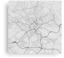 Leeds, England Map. (Black on white) Canvas Print