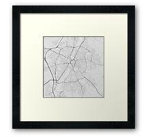 Leicester, England Map. (Black on white) Framed Print