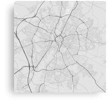 Leicester, England Map. (Black on white) Canvas Print
