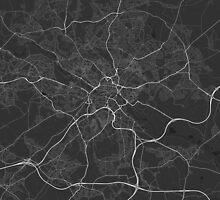 Leeds, England Map. (White on black) by Graphical-Maps