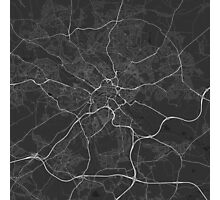 Leeds, England Map. (White on black) Photographic Print