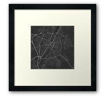 Leicester, England Map. (White on black) Framed Print