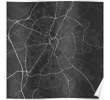 Leicester, England Map. (White on black) Poster
