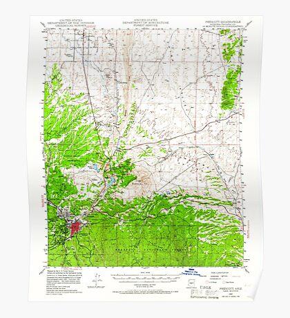USGS TOPO Map Arizona AZ Prescott 314925 1947 62500 Poster