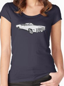 1975 Cadillac Eldorado Convertible Illustration Women's Fitted Scoop T-Shirt