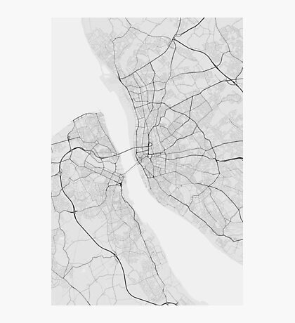Liverpool, England Map. (Black on white) Photographic Print