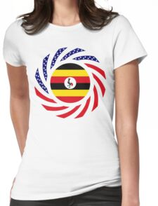 Ugandan American Multinational Patriot Flag Series Womens Fitted T-Shirt